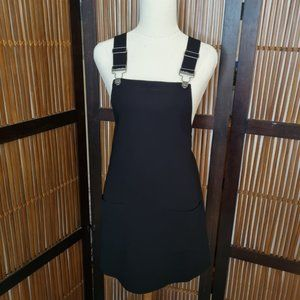 Forever 21 black buckle front pinafore dress small